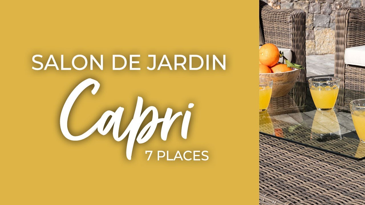 Salon de jardin Capri Sepia/Ecru - 7 places - YouTube