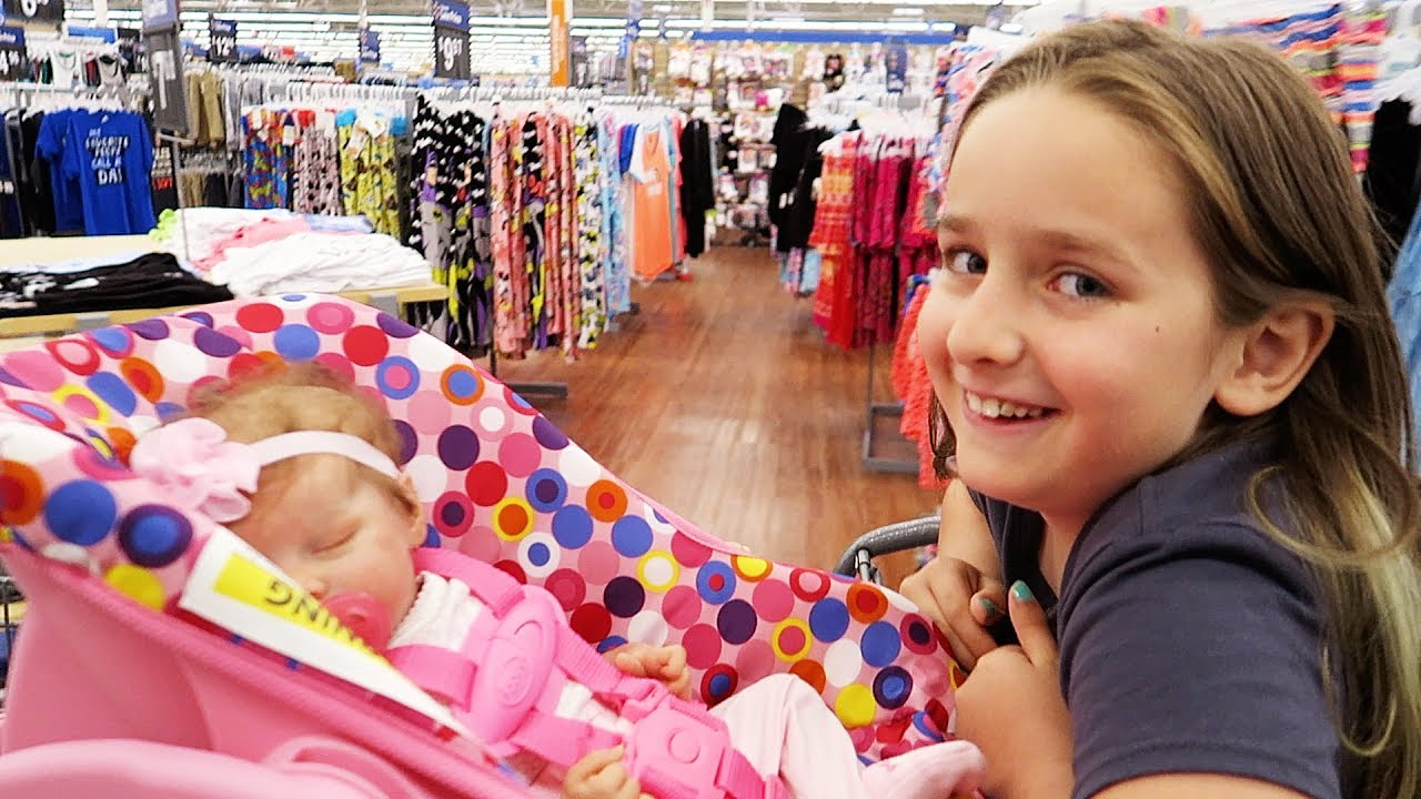 db8973da96c90 Shopping with Reborn Baby Doll Olivia and Sophia for Newborn Baby Supplies  at Walmart Shopping Haul