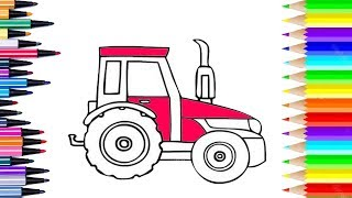 how to draw tractor | how to color tractor for kids
