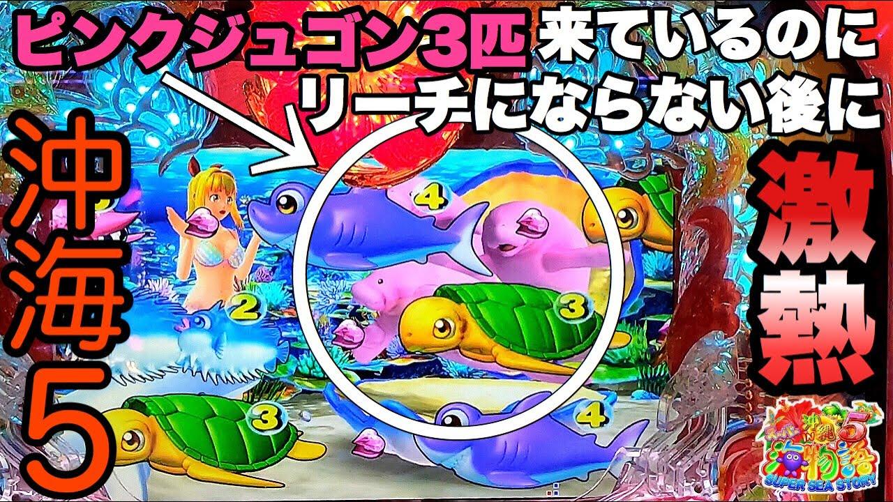 ピンクジュゴン3匹来てるのにリーチにならない後に激熱が待っていました。【Pスーパー海物語 IN 沖縄5】
