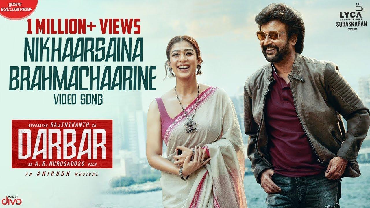 Download DARBAR (Telugu) - Nikhaarsaina Brahmachaarine (Video Song)   Rajinikanth   AR Murugadoss   Anirudh