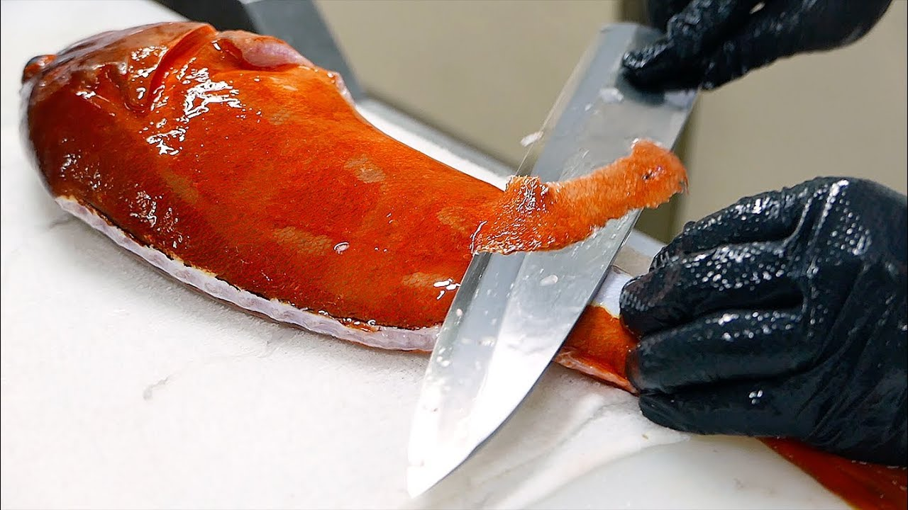 Japanese Food - GIANT RED GROUPER Mackerel Flounder Sushi Teruzushi Japan