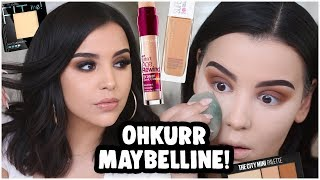 FULL FACE USING ONLY MAYBELLINE PRODUCTS: DRUGSTORE MAKEUP TUTORIAL FOR BEGINNERS | MakeupByAmarie