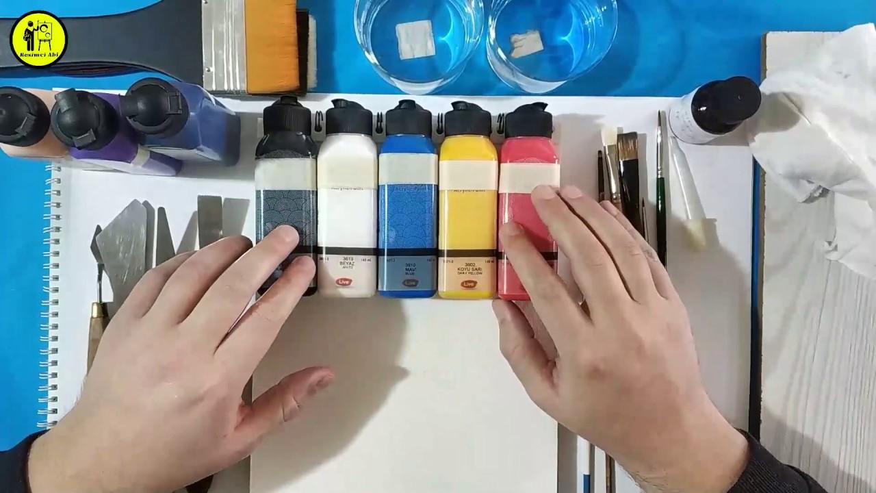 Akrilik Boya Resim Yapma Tekniği Başlangıç Aşaması Malzemeler / Tuval Çalışmaları Araç Gereçler
