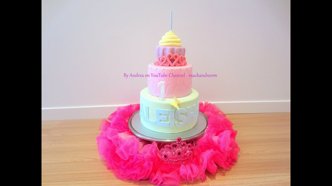 Aleishas 1st Birthday Cake Tiara Cupcake Tiered Cake Youtube