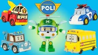 5 Personnages Robocar Poli Miniatures Voitures Diecast Jouet français Toy Review Juguetes