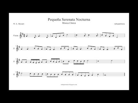 Pequeña Serenata Nocturna de Mozart Partitura para Violín Flauta Saxofón Clarinete Tenor Trompeta