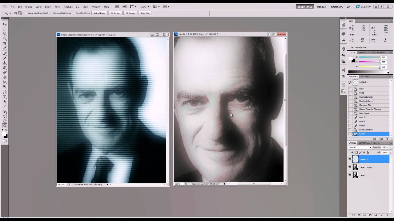 Photoshop CS5 Tutorial: Television Scan Line Effect - YouTube
