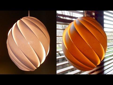 Swirl pendant lamp - how to make a spiral paper lampshade/lantern - EzyCraft