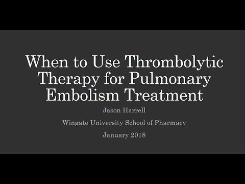 When to Use Thrombolytic Therapy For Pulmonary Embolism