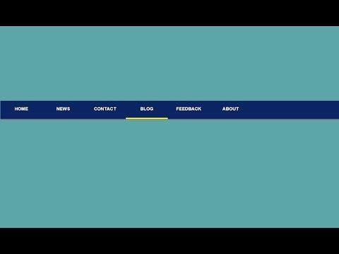 Navigation Bar With Border Bottom Hover | HTML And CSS