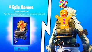 *NEW* GINGERBREAD PET BACK BLING in Fortnite! Fortnite Season 7 Gingerbread Skin *FREE* Back Bling!