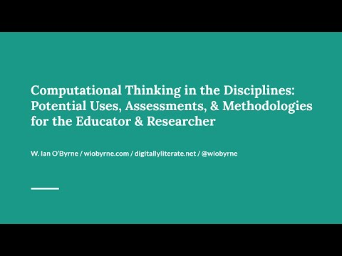Computational Thinking in the Disciplines