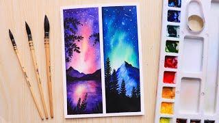 watercolor sky painting easy night beginners step
