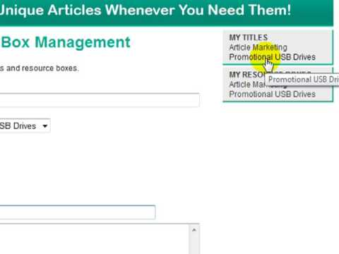 Creating Unique Titles And Resource Boxes Using Article Writer Pro