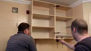 Сборка кухни для чайников, часть4(Установка нижних и верхних шкафов ,правильная регулировка уровня ,некоторые моменты по верхним шкафам., 2014-12-11T12:25:26.000Z)