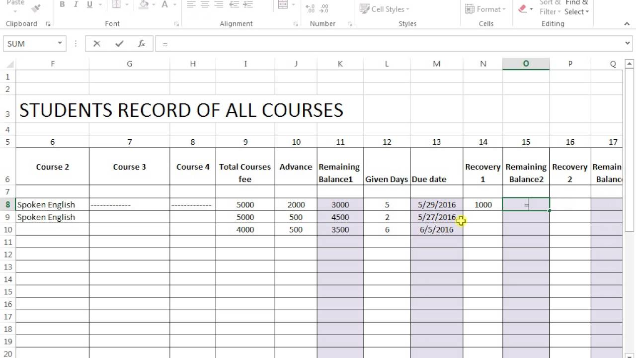 student record of all courses on ms excel youtube