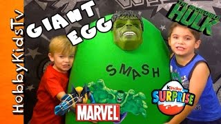 Worlds Biggest HULK Surprise Egg! Marvel Toys Inside + Kinder Egg by HobbyKidsTV