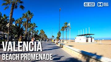 Valencia Beach, Playa de la Malvarrosa - 🇪🇸 Spain - 4K Virtual Tour