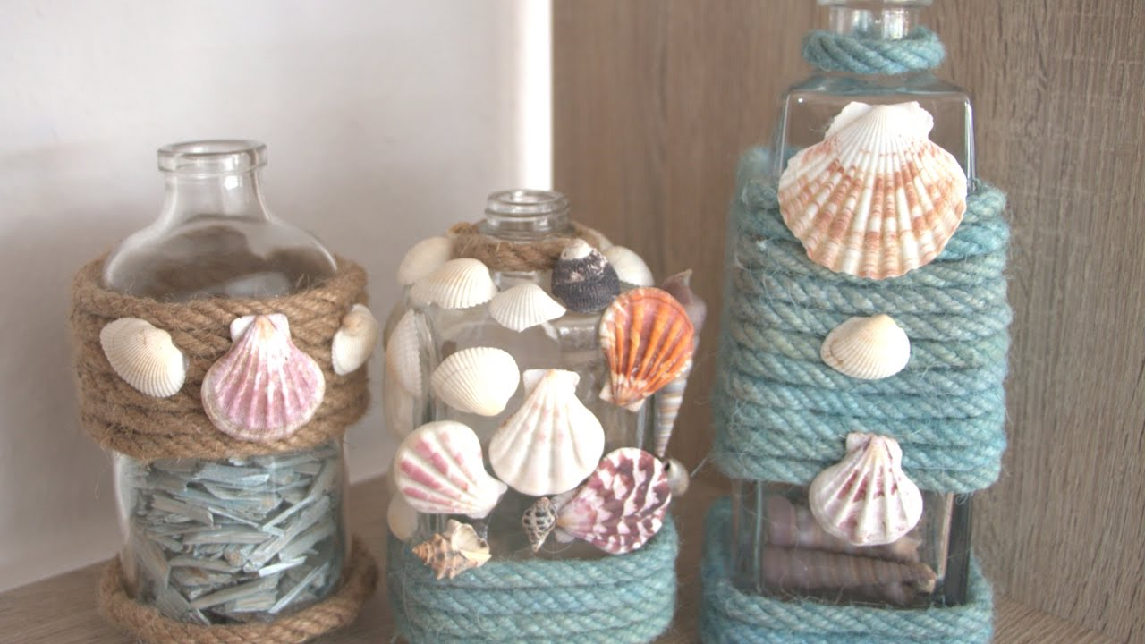 Diy ideas for empty liquor bottles seaside inspired decor for Empty bottle decoration ideas