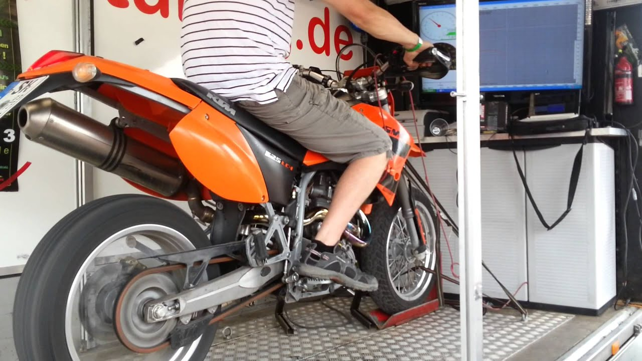 ktm 625 sxc smc supermoto prüfstand - dyno - youtube