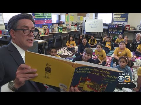 CBS3's Jim Donovan Reads To Students At A.S. Jenks Elementary School In South Philadelphia