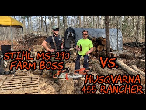 #46 Stihl MS-290 Farm Boss Vs. Husqvarna 455 Rancher Chainsaws Comparison Cutting Firewood