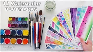 📚 DIY: 12 Easy Watercolor Bookmarks Ideas for Beginners ♡ Maremi's Small Art ♡