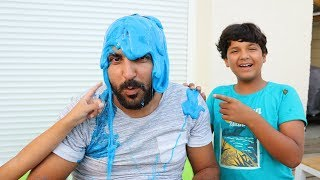 SLIME PRANK ON OUR DAD !kids pretend play, funny videos for kids