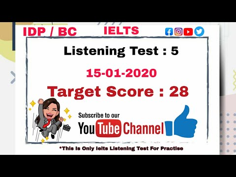 IELTS || Listening Test No 5 With Answers || IELTS TEST || 15-01-2020