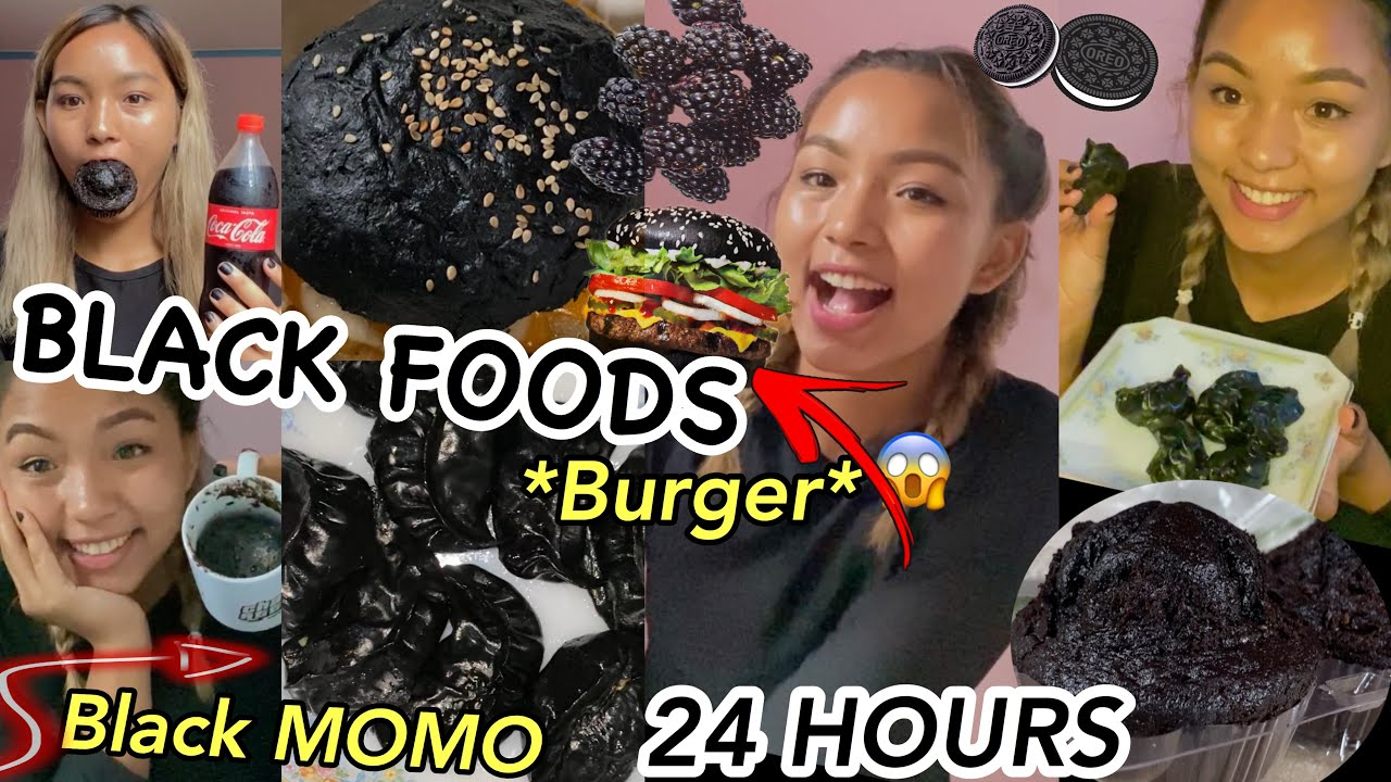 I Only Ate BLACK FOOD FOR 24 HOURS!!🖤 challenge ||Laxmi Shrestha||