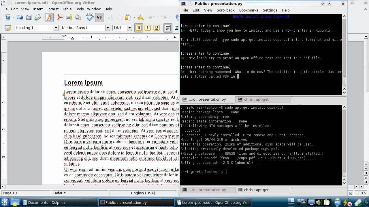 Installing and using a virtual PDF printer 63
