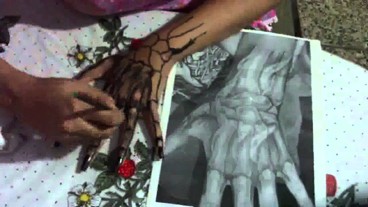 How I Make Temporary Tattoo Skeleton Hand Youtube