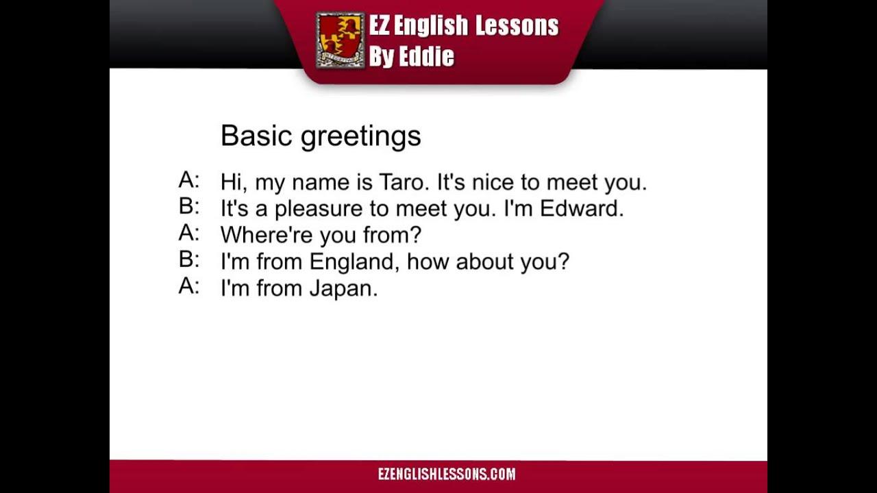 Basic English Greetings Youtube