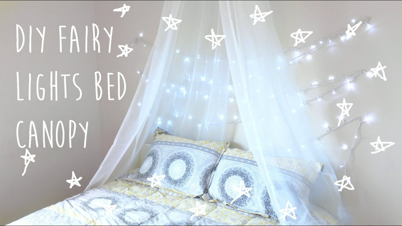 Fairy lights bedroom tumblr - Diy Bed Canopy With Fairy Lights Tumblr Pinterest Inspired Room Decor 2016