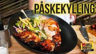 Påskekylling - øldampet og grillet kylling med wokede grønsaker