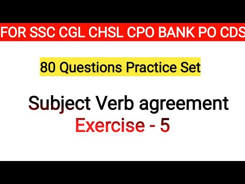 Subject Verb Agreement Exercise 5 With 80 Questions For Ssc Cgl