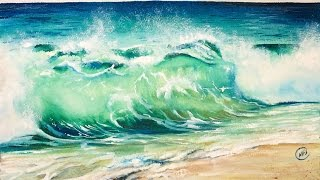 Watercolor Waves ROUGH Paper Painting Tutorial