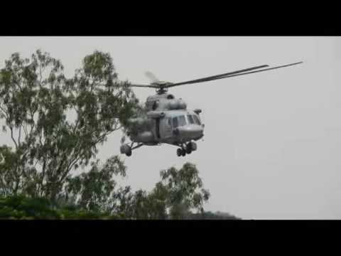Flood relief by Helicopter at ghatal in Midnapur 2017