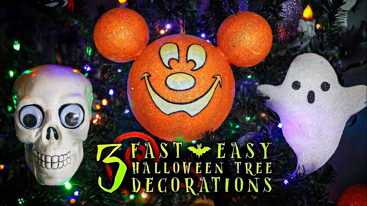 3 Fast & Easy Decorations for the Halloween Tree | Mickey Mouse Pumpkin Cartoon Skulls & Ghost Picks