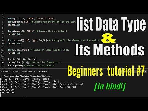 Python tutorial for beginners #7 - list [ ] data type & its methods  [hindi] thumbnail