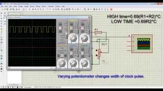 TISHITU Basic Electronics 555 timer IC simulation of Variable frequency Astable multivibrator mode