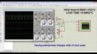 TISHITU Basic Electronics 555 timer IC simulation of Variable frequency Astable multivibrator mode