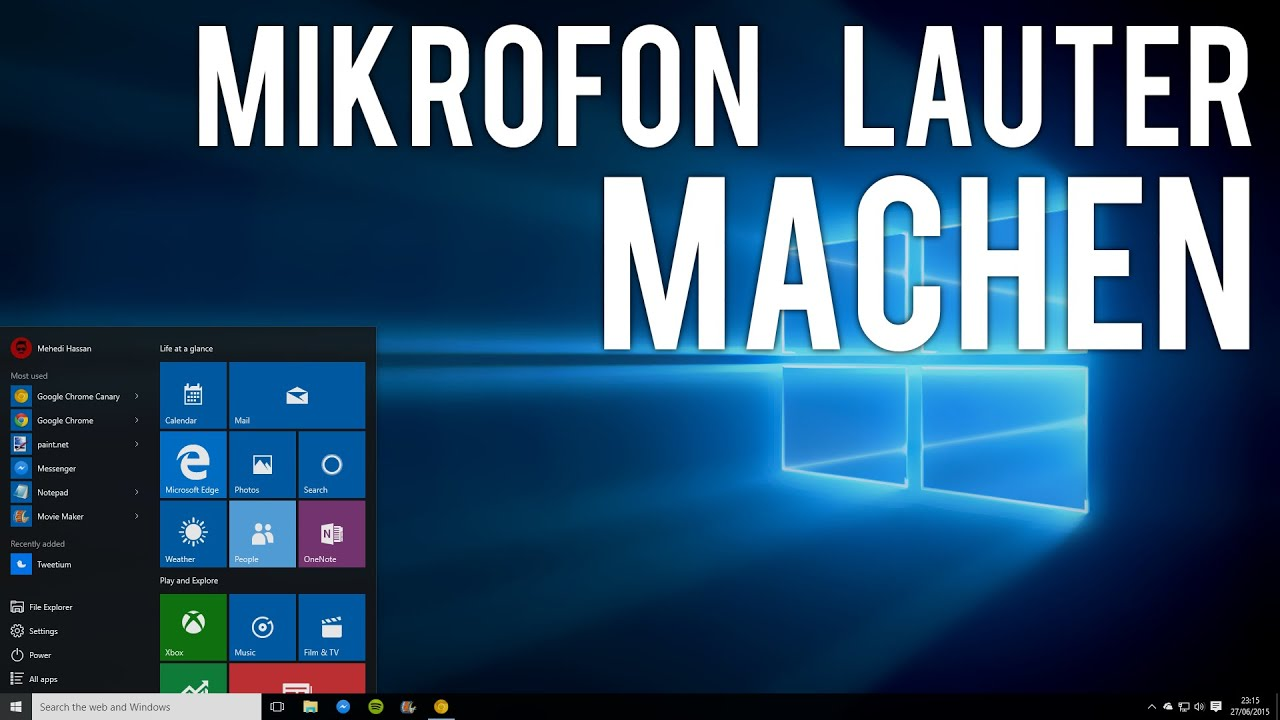 windows 10 mikrofon lauter machen deutsch youtube. Black Bedroom Furniture Sets. Home Design Ideas