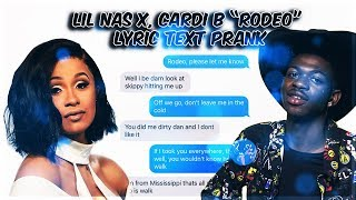 "LIL NAS X, CARDI B ""RODEO"" LYRIC TEXT PRANK ON LIL NAS X HUGE FAN!"