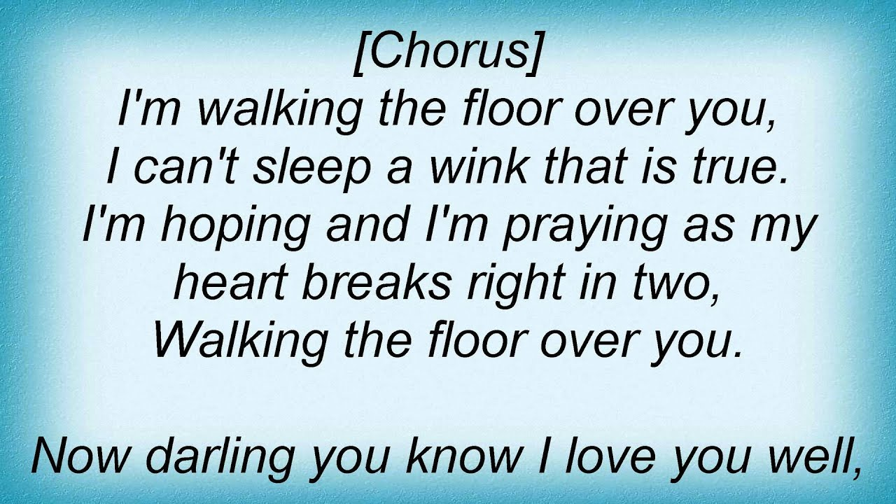 Amazing 16794 Pat Boone   Walking The Floor Over You Lyrics