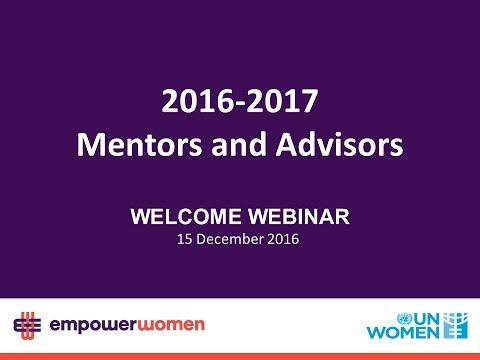 2016-2017 Mentors &  Advisors - Welcome Webinar