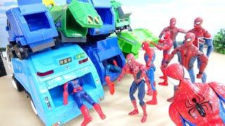 はたらくくるま ゴミ収集車とスパイダーマン ぴったりサイズの車はどれだ