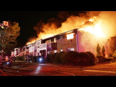 FAST MOVING BLAZE GUTS GARDEN APARTMENT BUILDING IN CENTRAL ISLIP NY