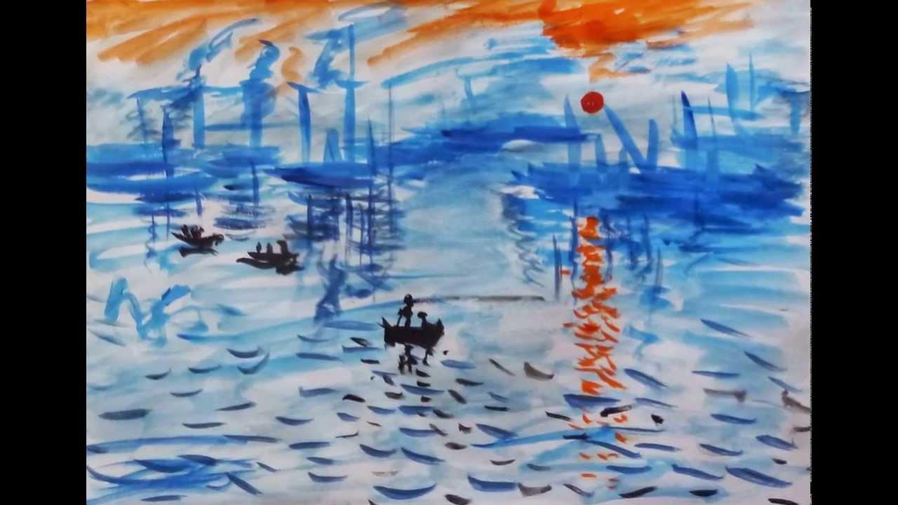 クロード・モネの「印象・日の出」を模寫 - YouTube